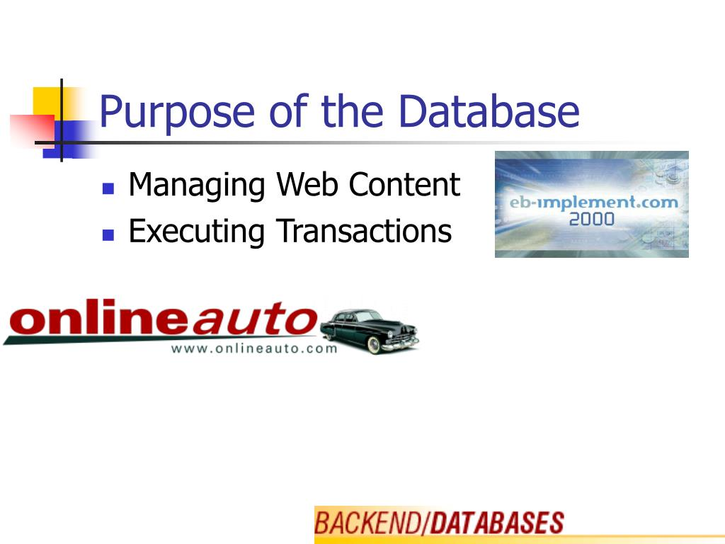 Purpose of the Database