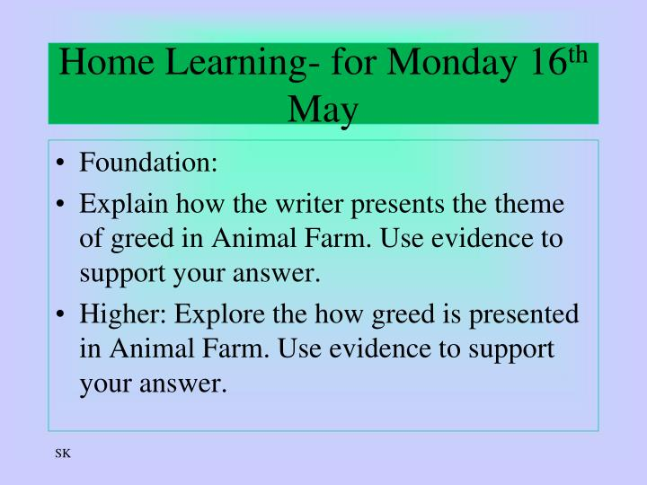 Home Learning- for Monday 16