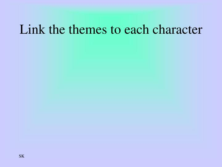 Link the themes to each character
