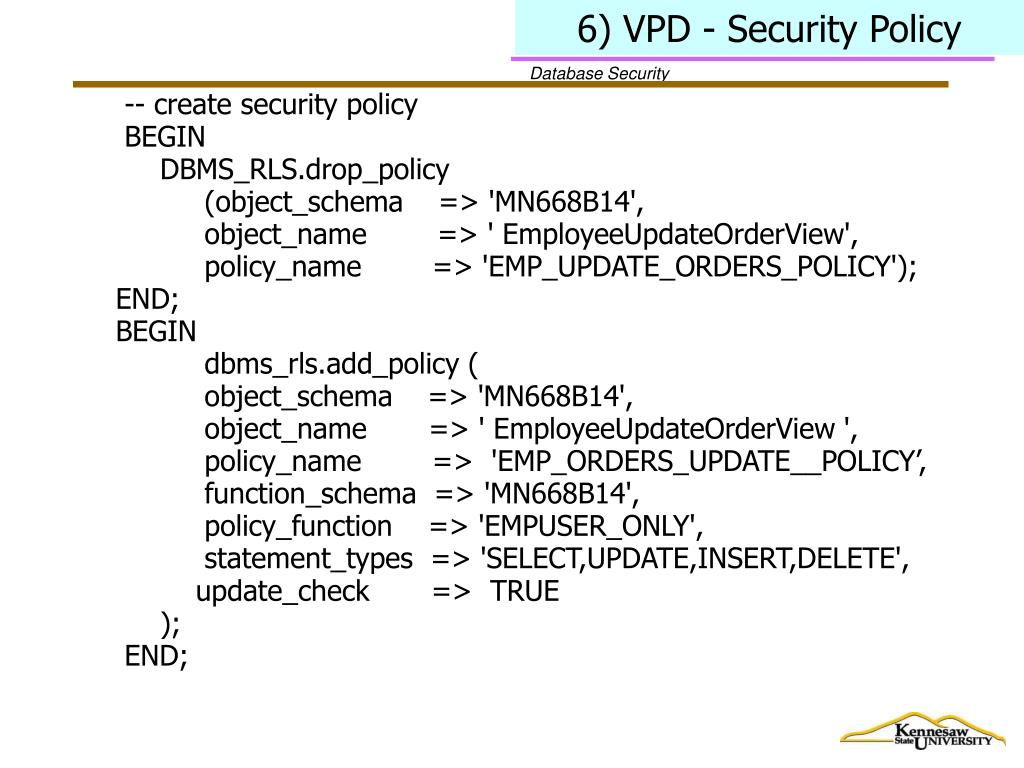 6) VPD - Security Policy