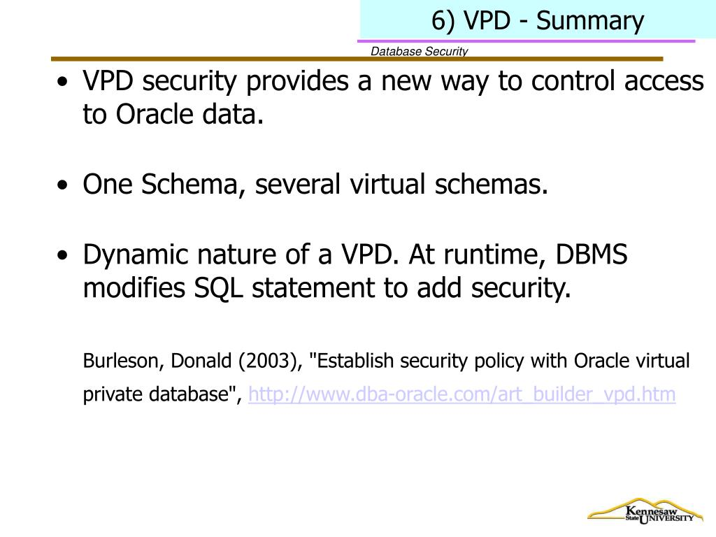 6) VPD - Summary