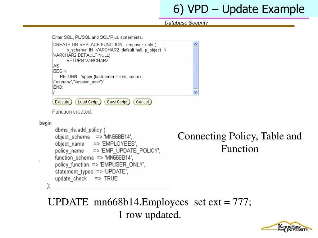 6) VPD – Update Example
