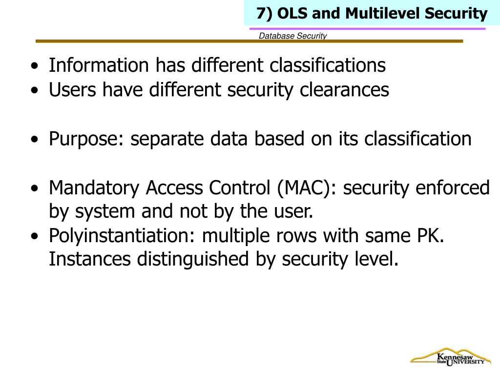 7) OLS and Multilevel Security