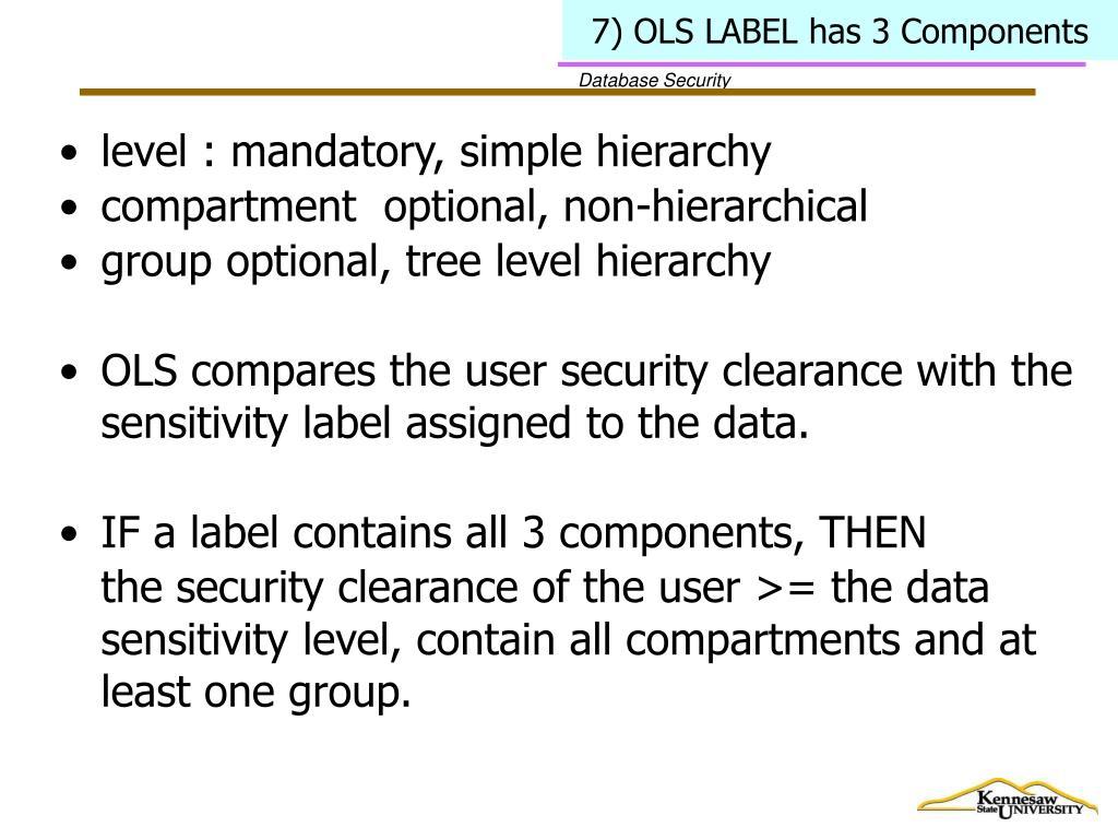 7) OLS LABEL has 3 Components