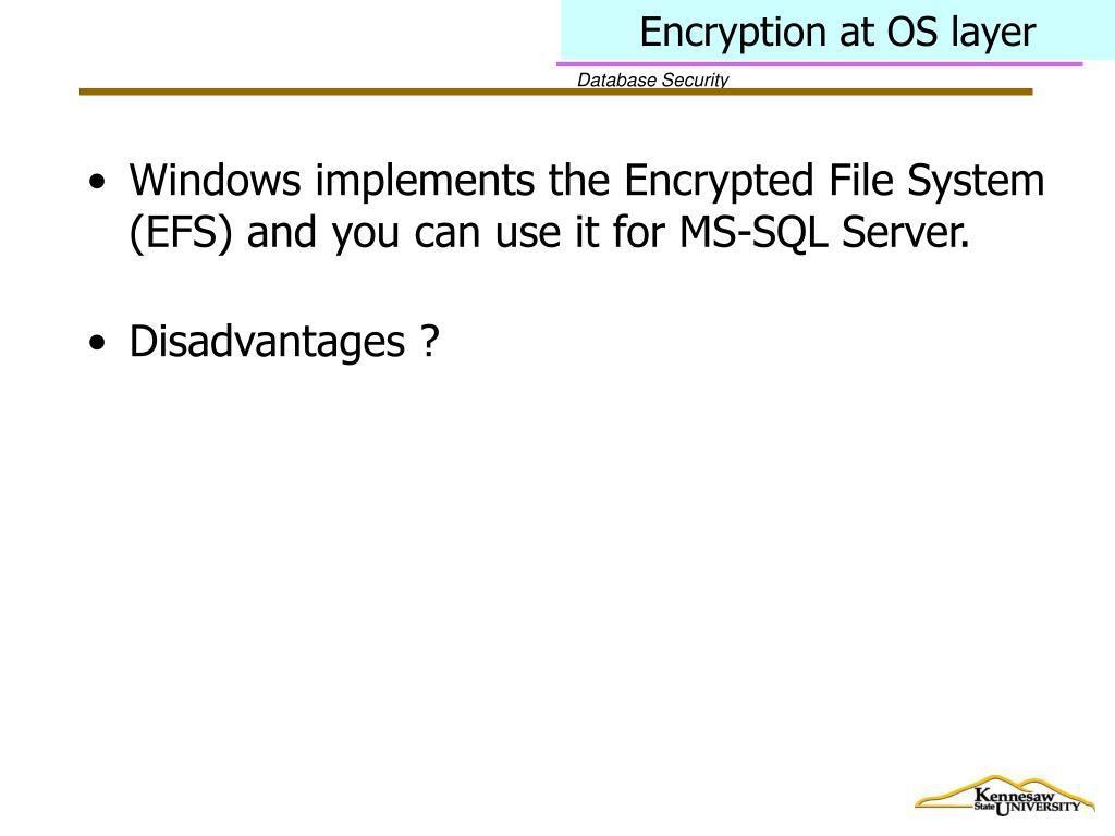 Encryption at OS layer