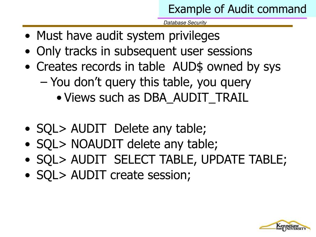 Example of Audit command