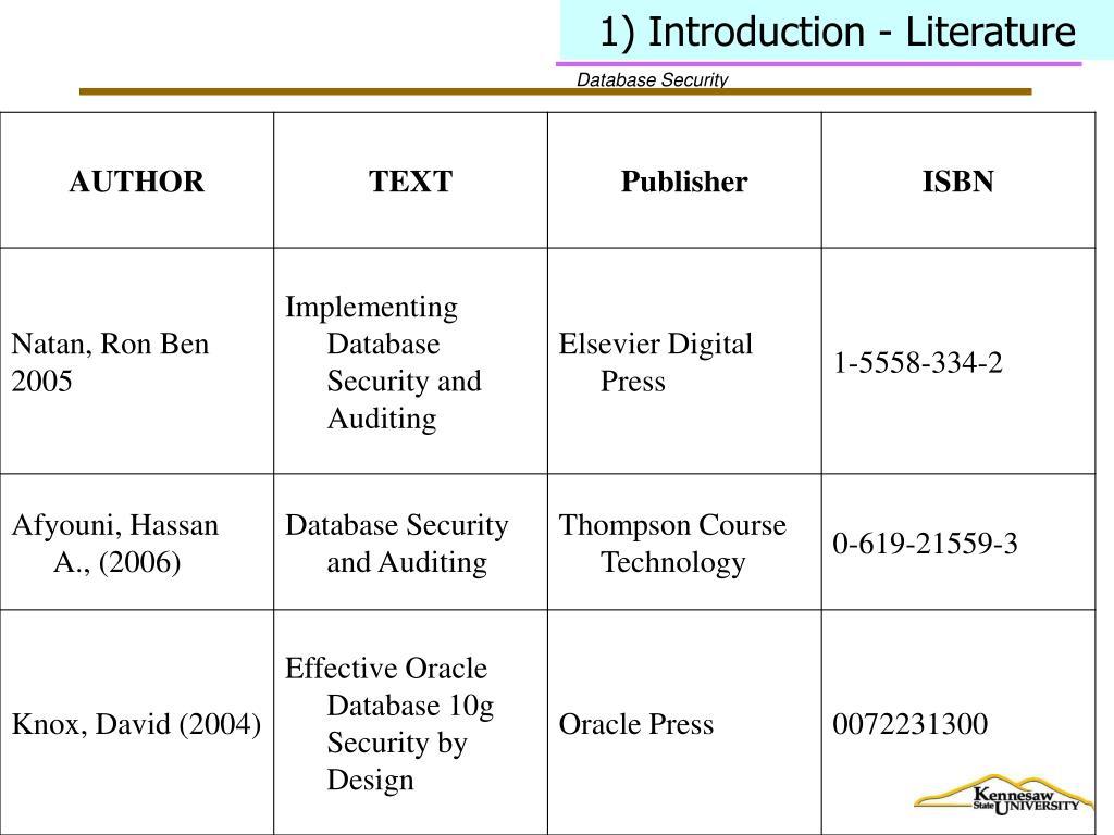 1) Introduction - Literature