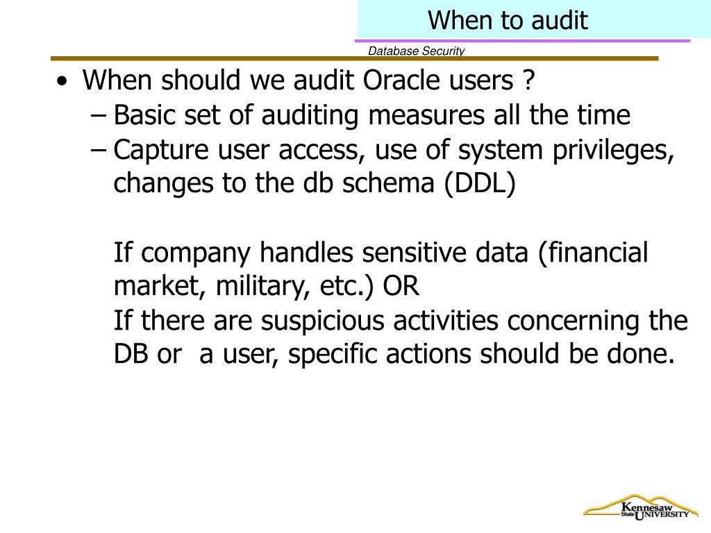 When to audit