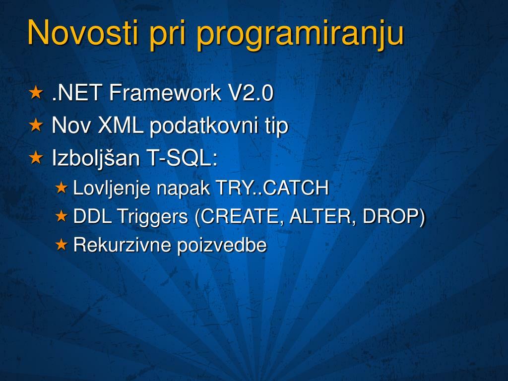 Novosti pri programiranju