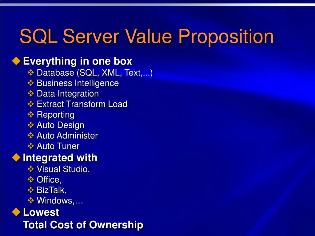 SQL Server Value Proposition