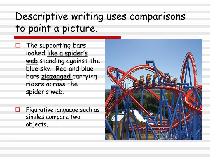 Descriptive writing uses comparisons to paint a picture.