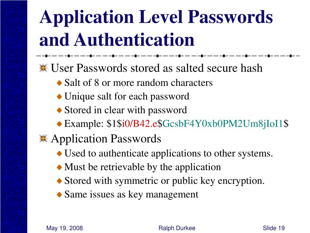 Application Level Passwords and Authentication