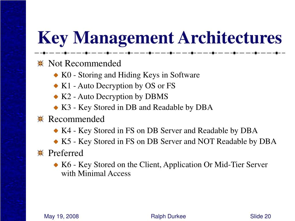 Key Management Architectures