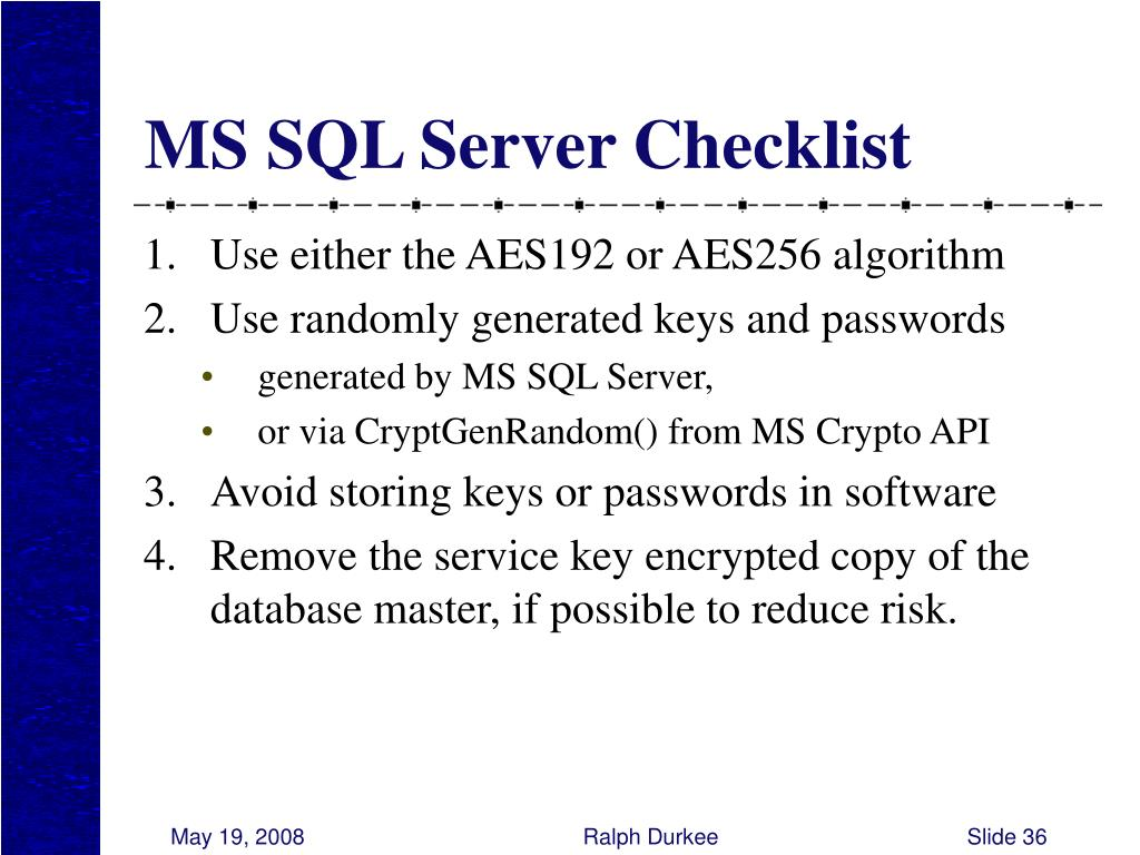 MS SQL Server Checklist
