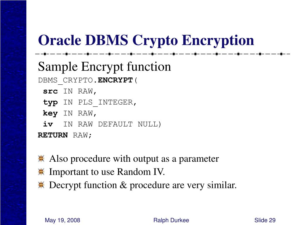 Oracle DBMS Crypto Encryption