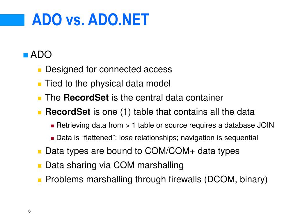 ADO vs. ADO.NET