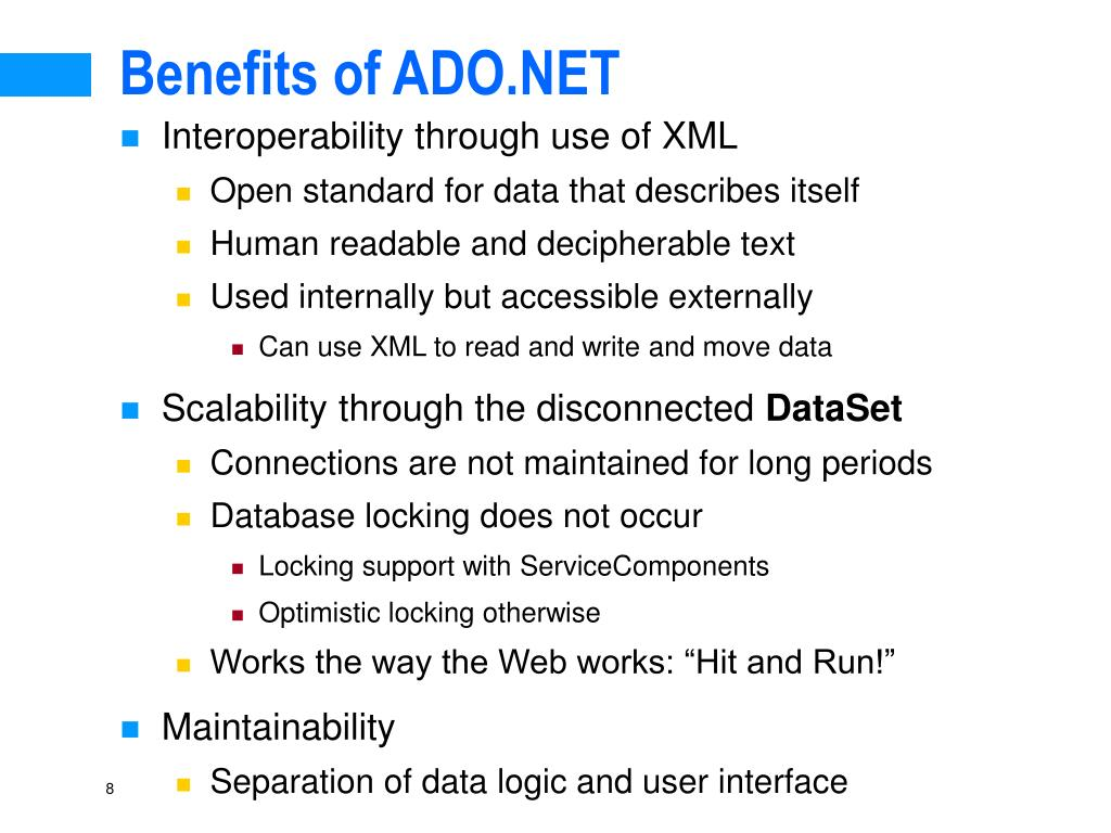 Benefits of ADO.NET