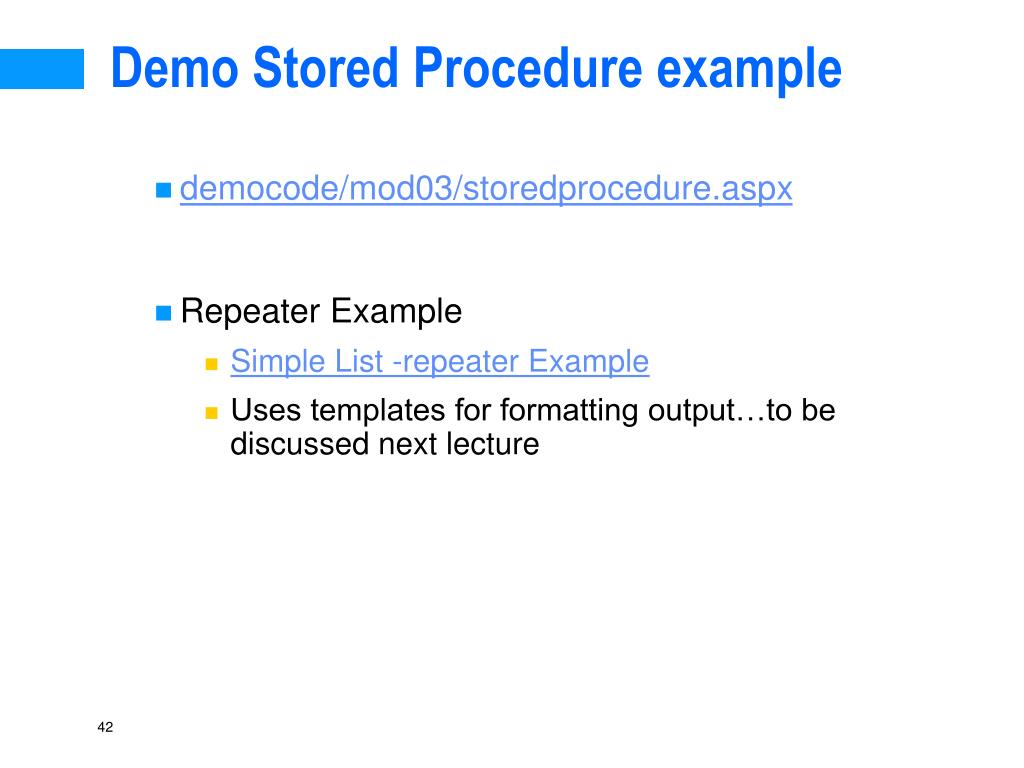 Demo Stored Procedure example