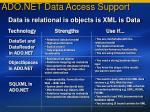 ado net data access support