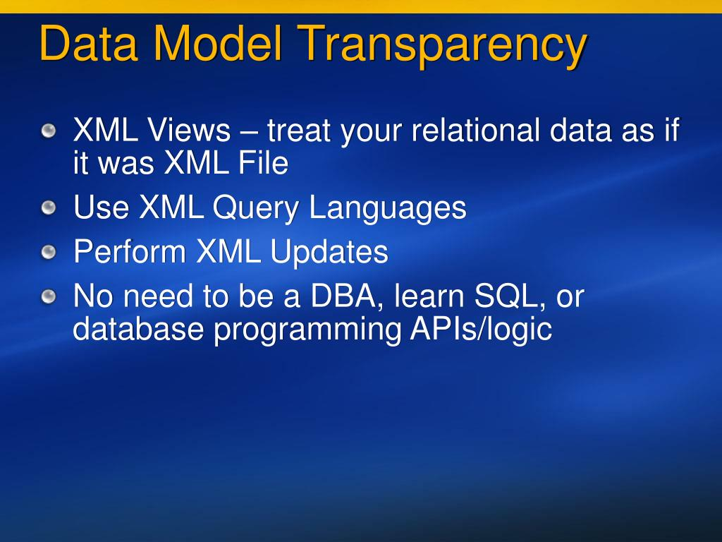 Data Model Transparency