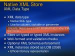 native xml store xml data type