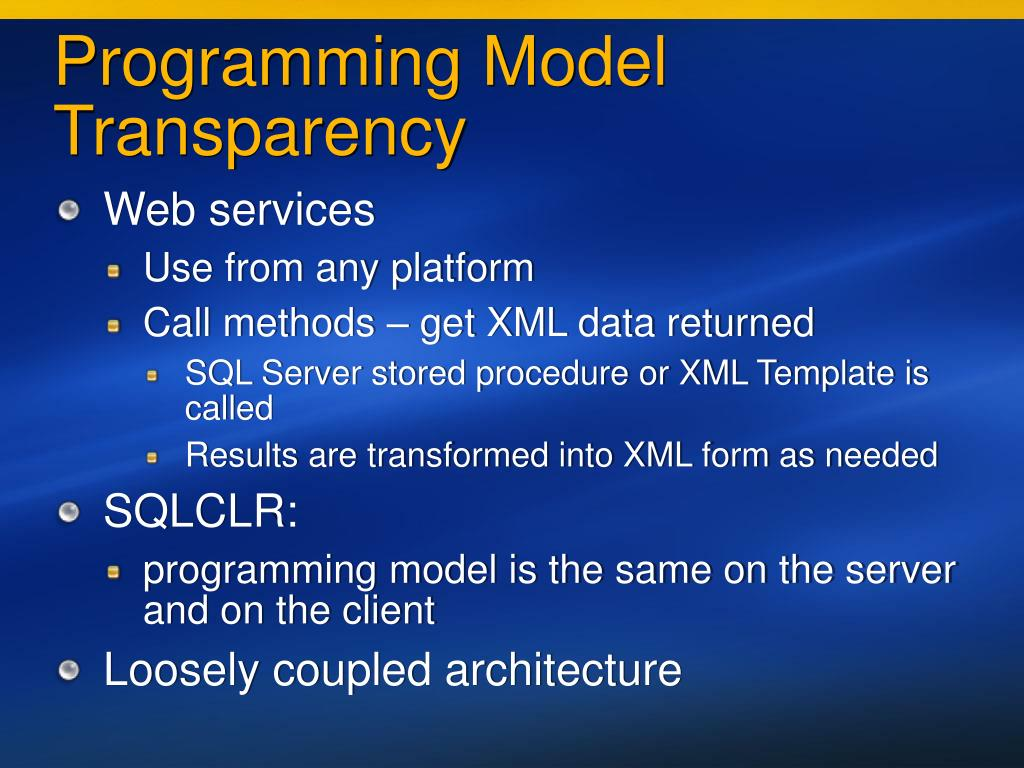 Programming Model Transparency