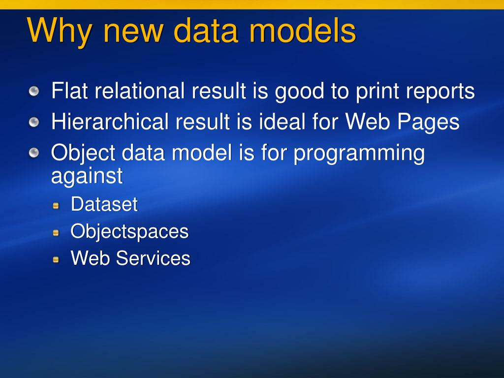 Why new data models