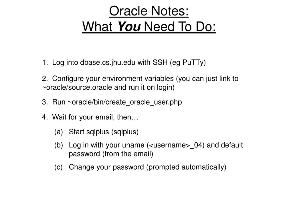 Oracle Notes: