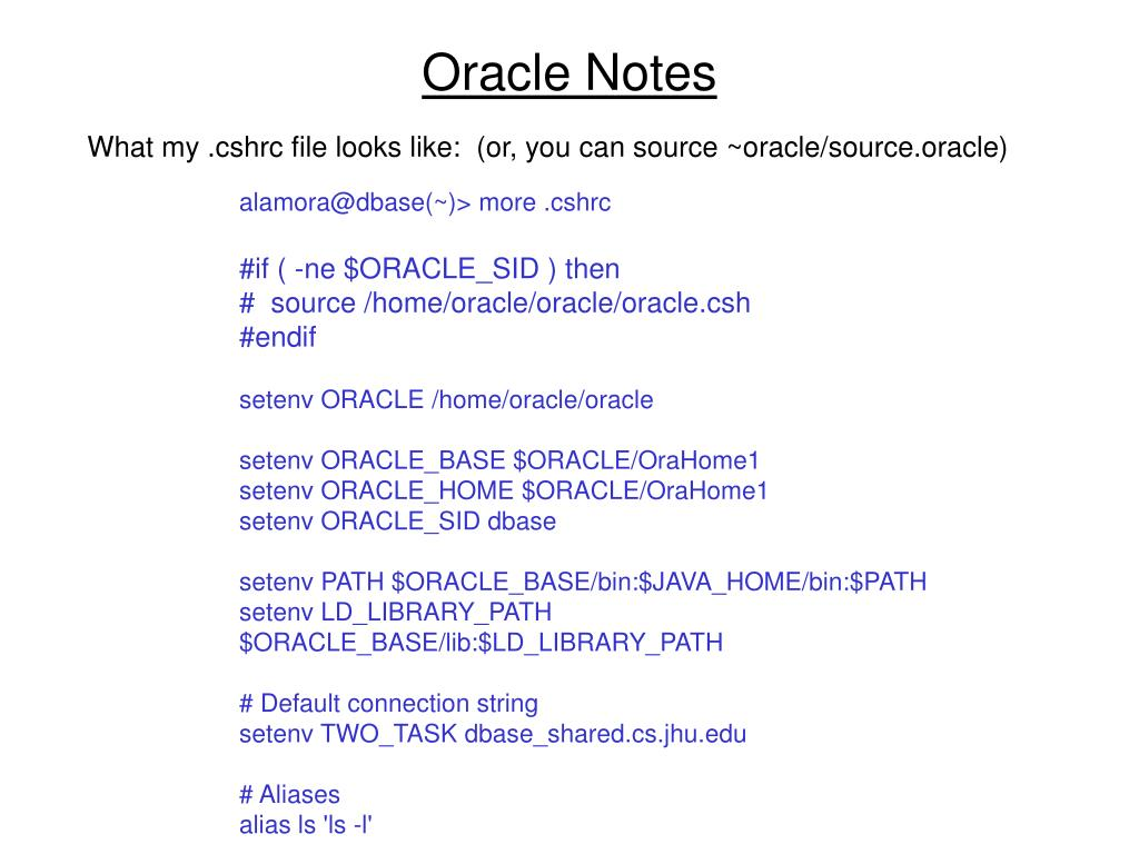 Oracle Notes