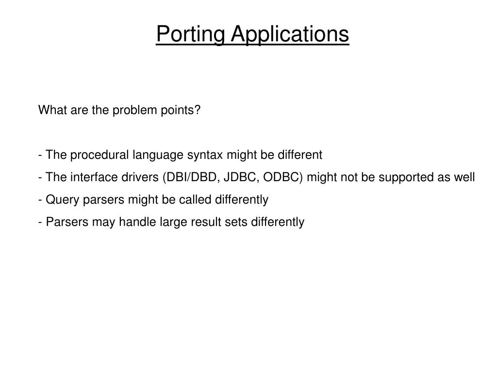 Porting Applications