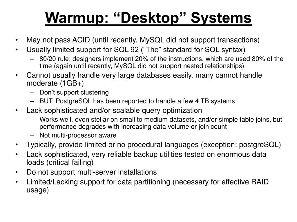 "Warmup: ""Desktop"" Systems"