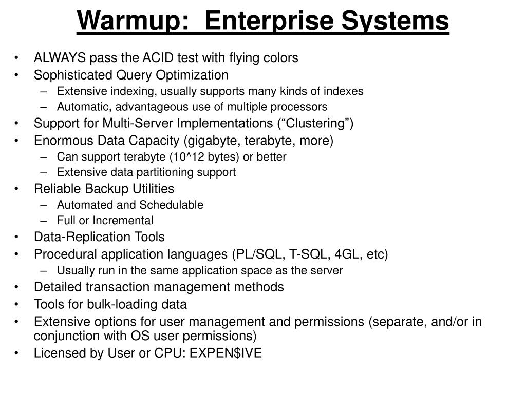 Warmup:  Enterprise Systems