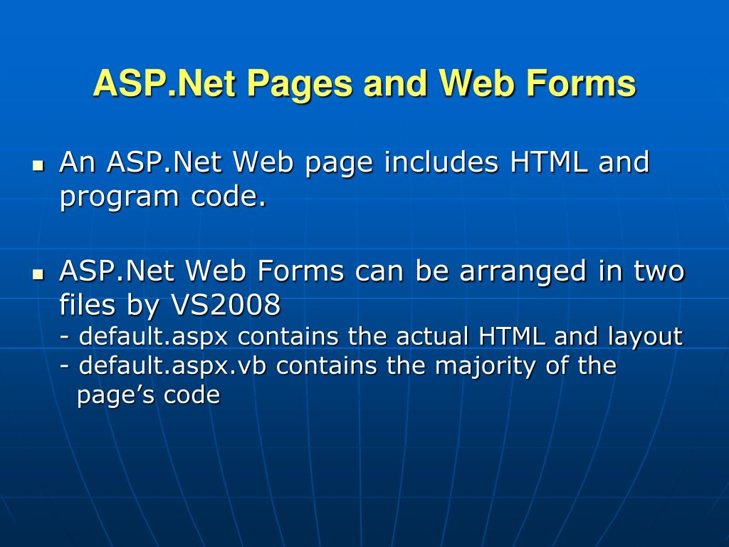 ASP.Net Pages and Web Forms