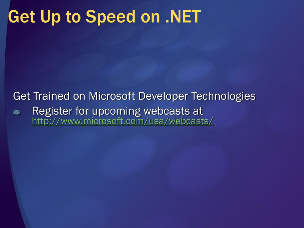Get Up to Speed on .NET