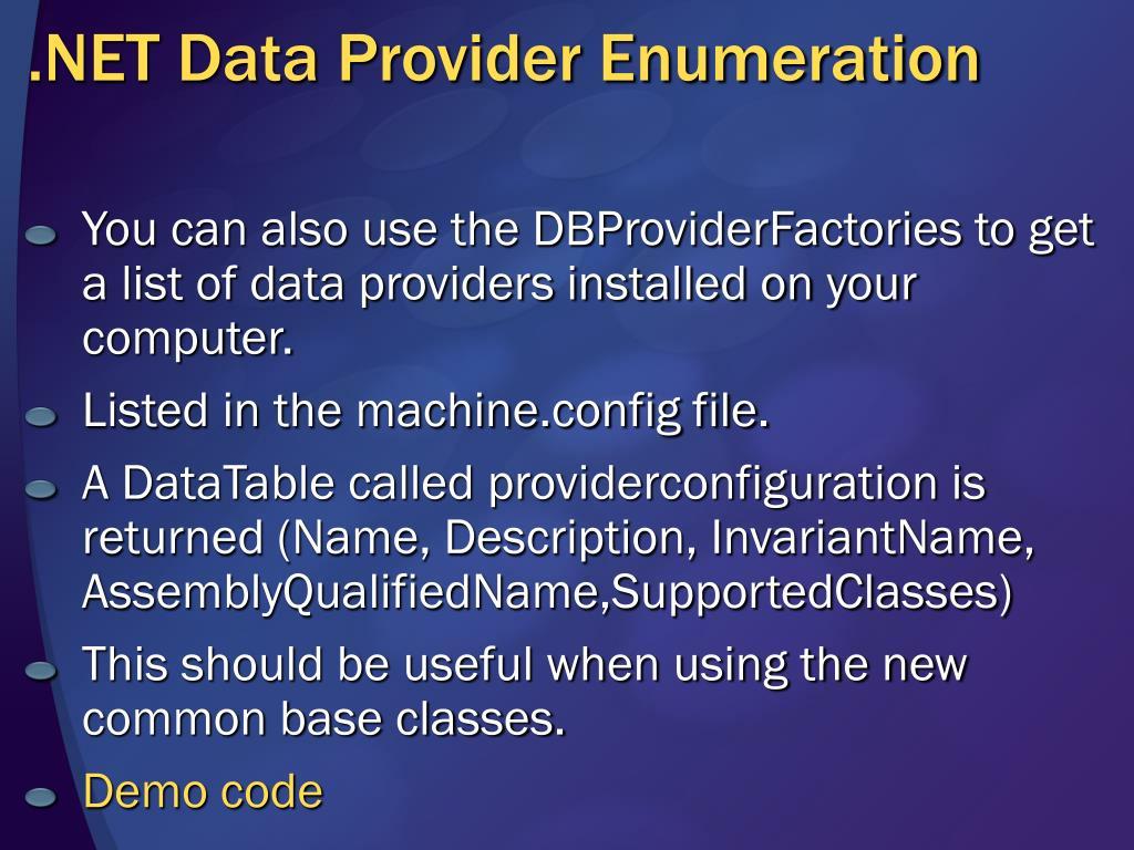 .NET Data Provider Enumeration