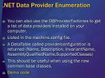 net data provider enumeration