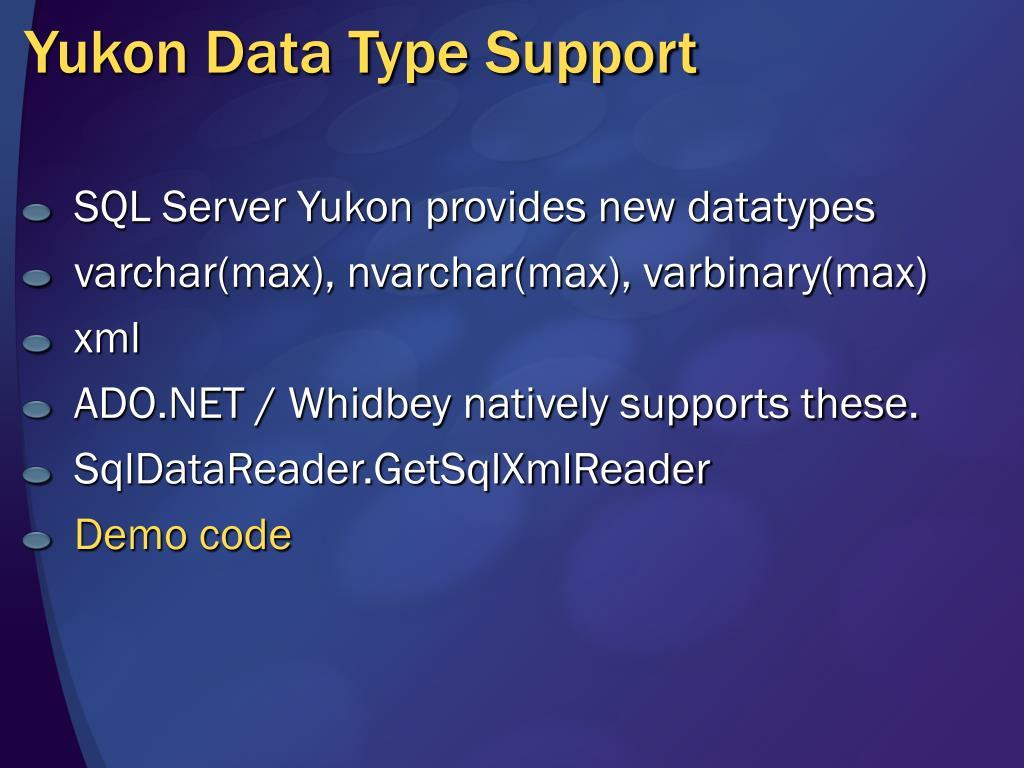 Yukon Data Type Support