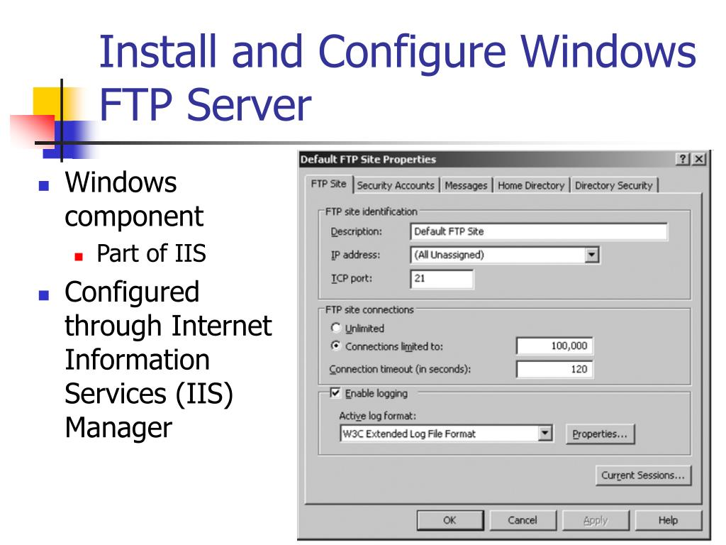 Install and Configure Windows FTP Server