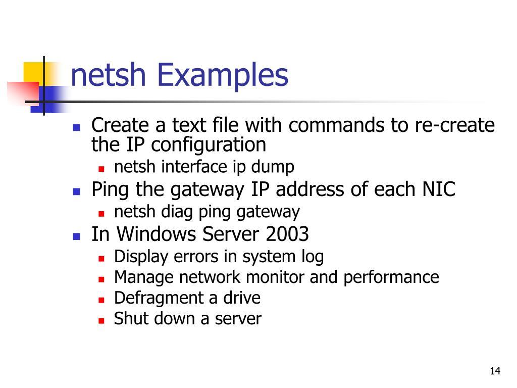 netsh Examples