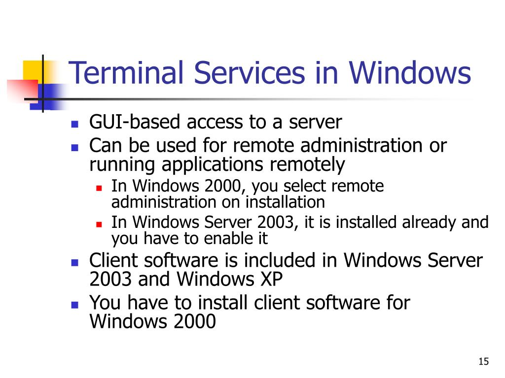 Terminal Services in Windows