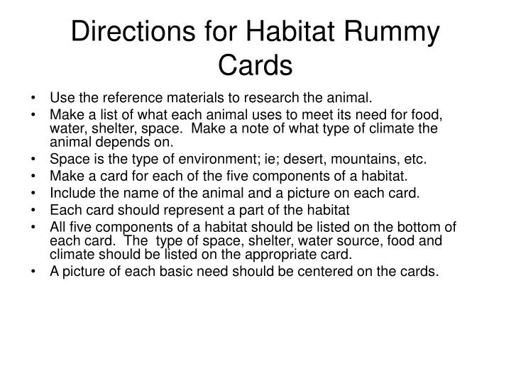 Directions for Habitat Rummy Cards