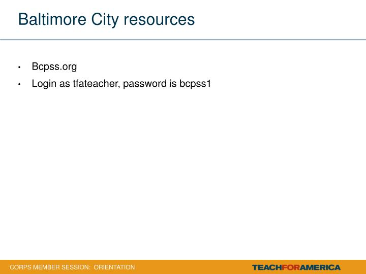 Baltimore City resources