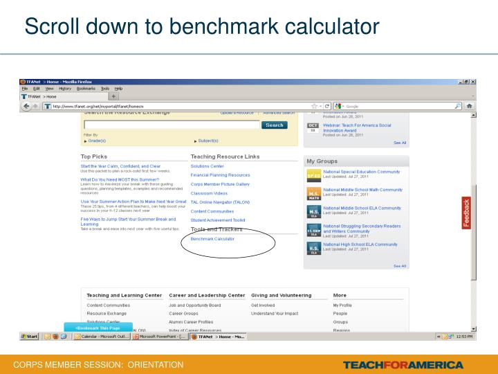 Scroll down to benchmark calculator