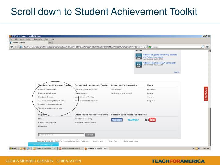 Scroll down to Student Achievement Toolkit