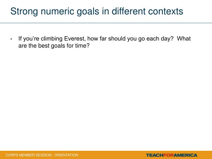 Strong numeric goals in different contexts