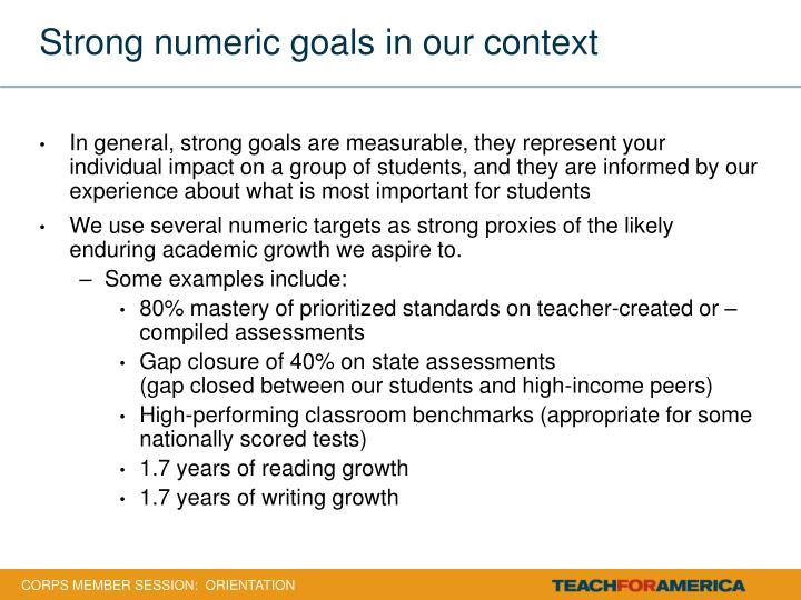 Strong numeric goals in our context