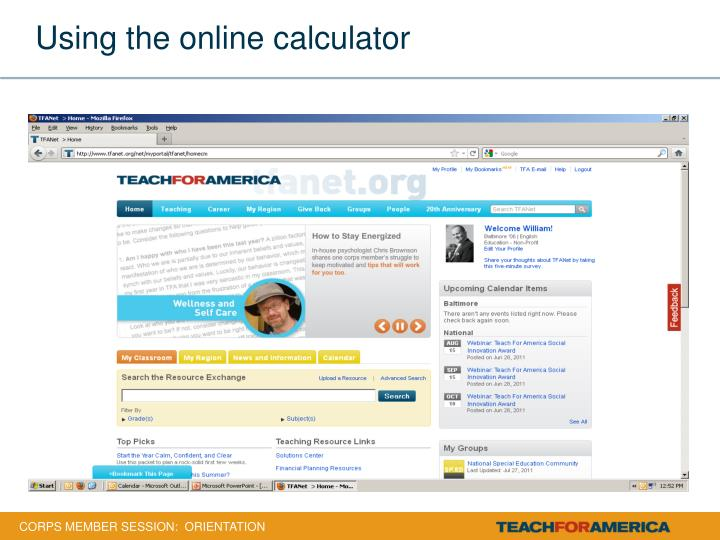 Using the online calculator