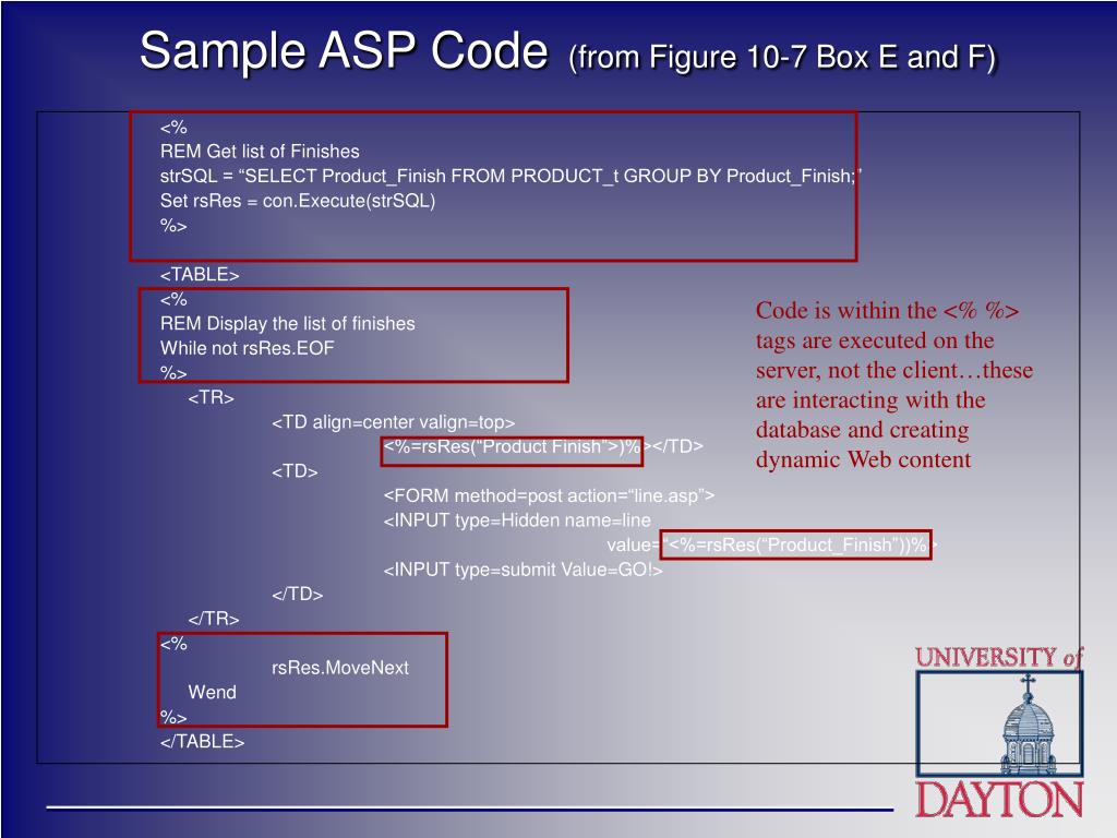 Sample ASP Code