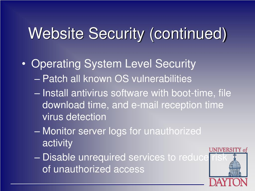 Website Security (continued)