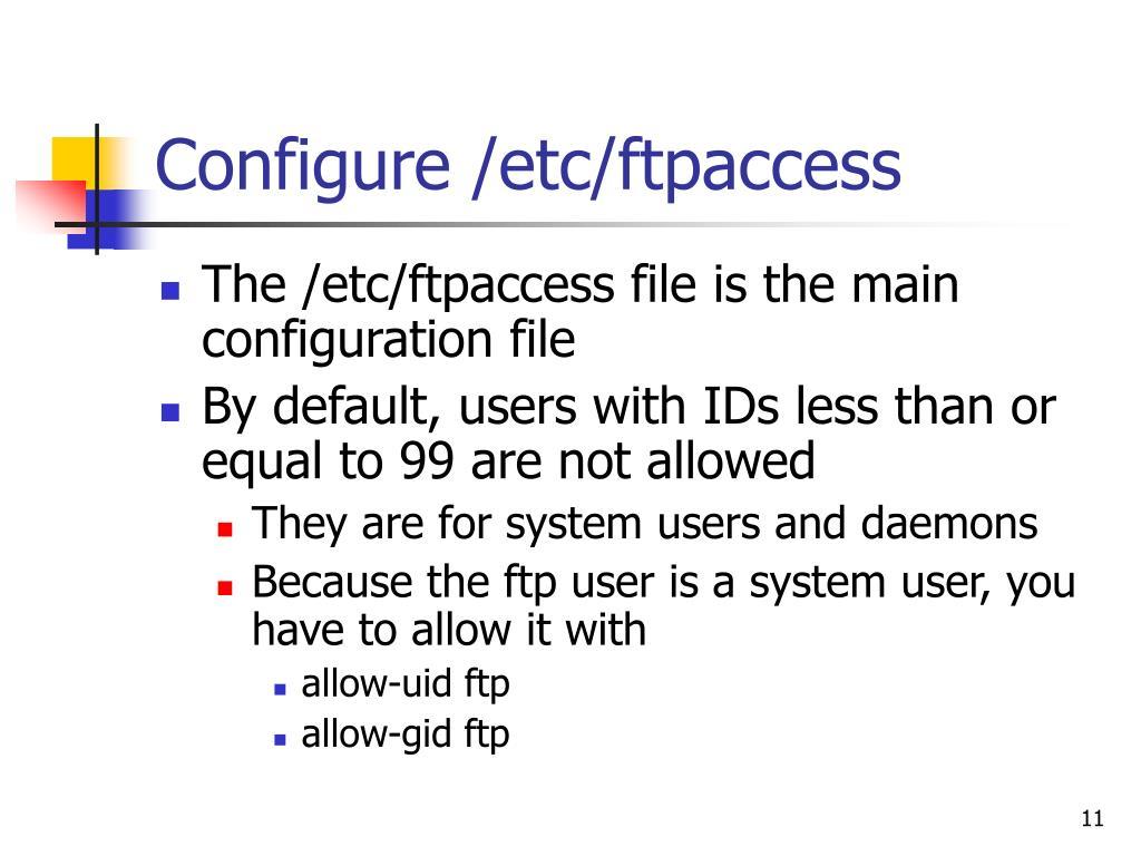 Configure /etc/ftpaccess